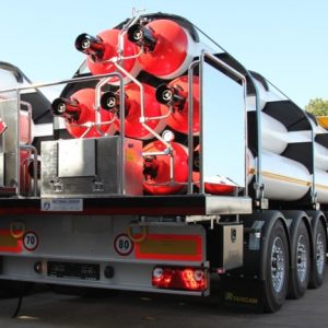 (English) Type A gas cylinder trailer 1 pc from behind.