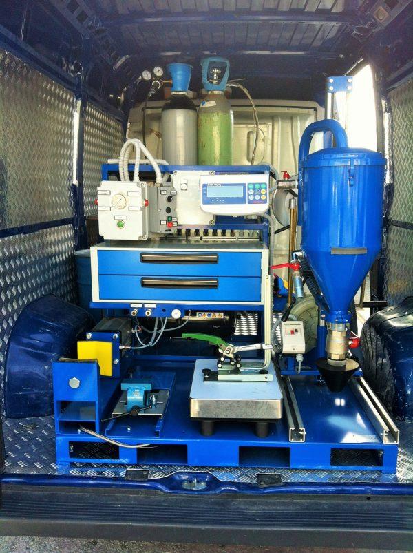 SKID mobil műhely tűzoltókészülékek karbantartásához