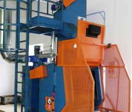 GH rubber belt shot blasting machine for spareparts, front side view.