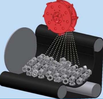 GH rubber belt shot blasting machine for spareparts, working scheme