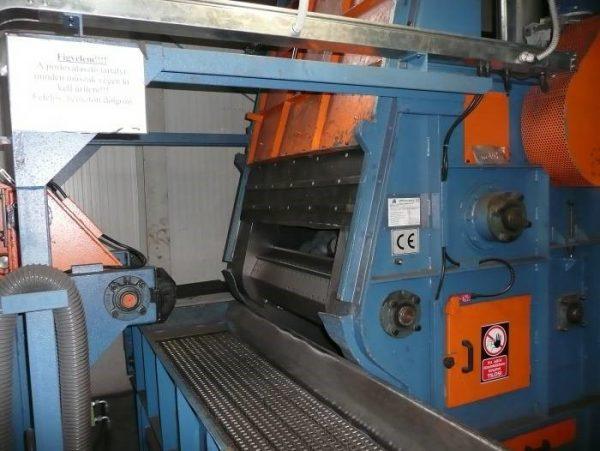 GH gumihevederes sörétező gép, gázpalackok és alkatrészek külső tisztítás, automatikus kiürítés