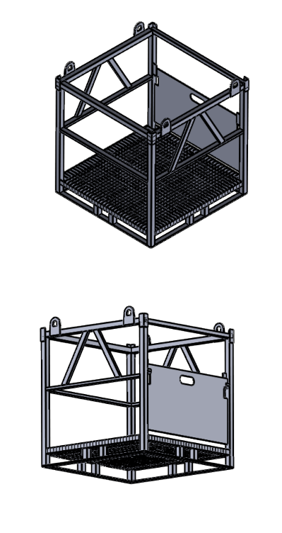 Schematic drawing Gas cylinder steel palette drawing 16x50 with grid and flap 3D