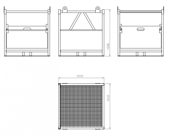 Sizes Gas cylinder steel palette drawing 16x50 with grid and flap dimensions