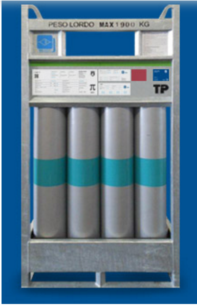 Horizontal gas cylinder bundle