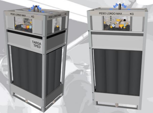 SMIT-NP vertical gas cylinder bundel cad draw