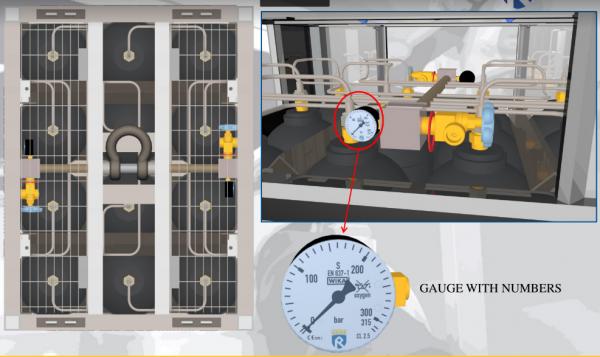 SMIT-NP manometer and main valve on gas cylinder bundel