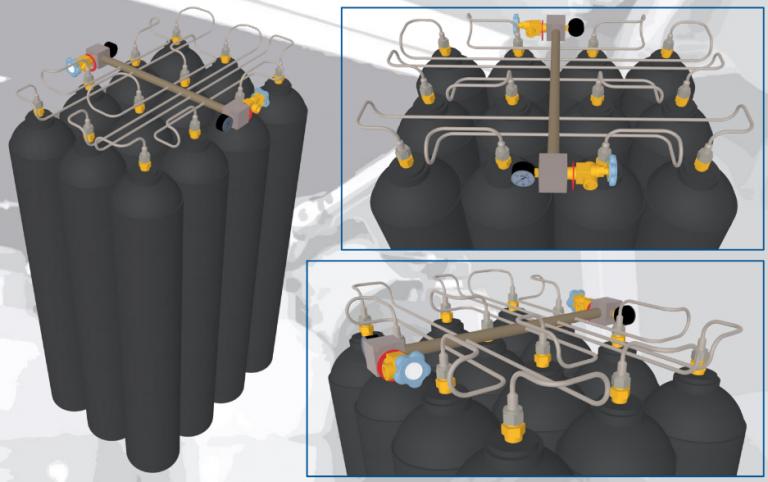 SMIT-NP gázpalack köteg csövezési ábra