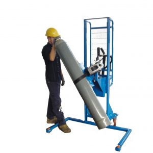 ICS-1850-CLD clamping manual trolley for rotate and move gas cylinder.