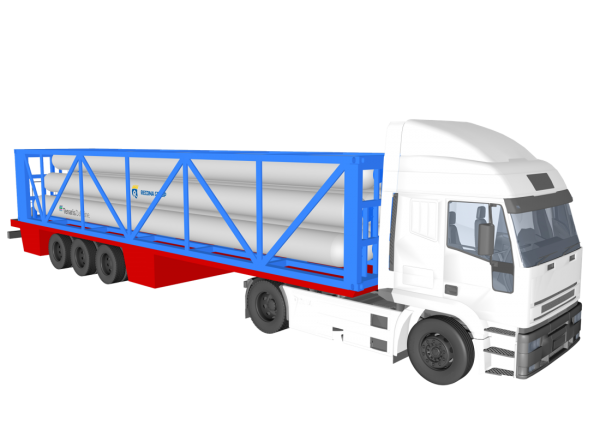 """Type """"C"""" - ISO container for gas transport with drawing trailer"""