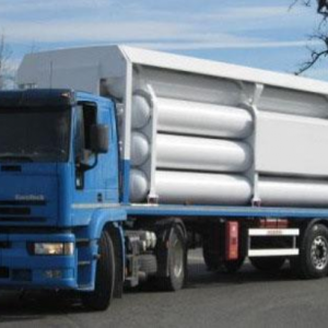 "Type ""B"" most protected gas cylinder trailer"