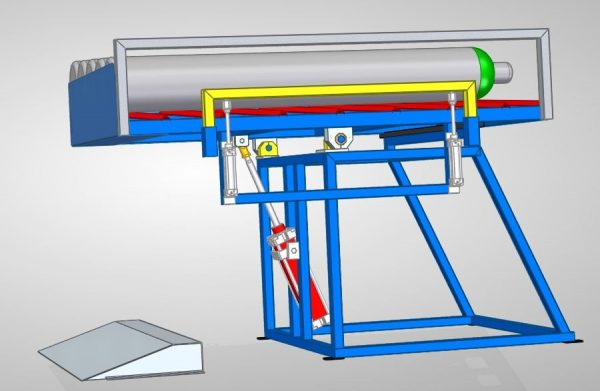Gas cylinder tilting machine for loading and unloading of gas cylinder marking machine