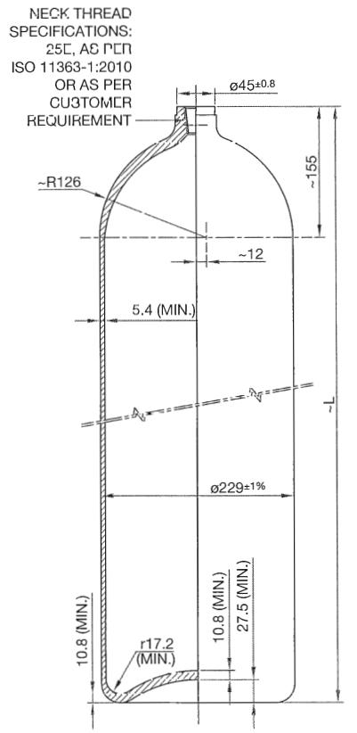 Steel 30 liter gas cylinder 200 bar ECER 110, CNG - PWENT