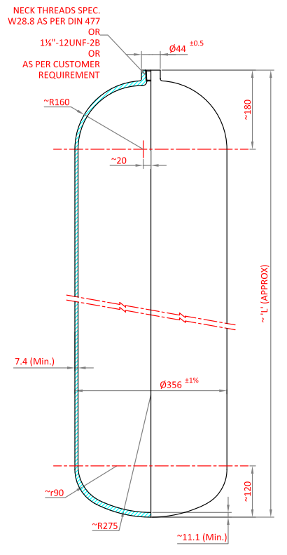 CO2 Gas Cylinder - Dimensions