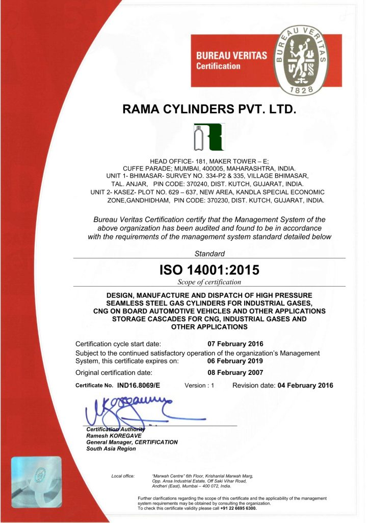 High Pressure Seamless Steel Gas Cylinder From Rama
