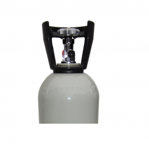 CO2 cylinder with chrome plated valve and plastic cage