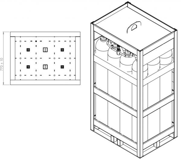dimension of 12x50 gas cylinder bundel