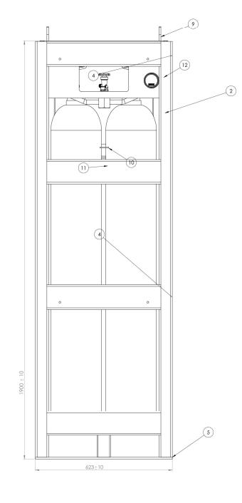 6x50 gas cylinder bundel drawing and dimensions B