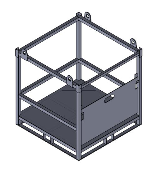 Gázpalack szállító kaloda 16B lemez alj 3D rajz