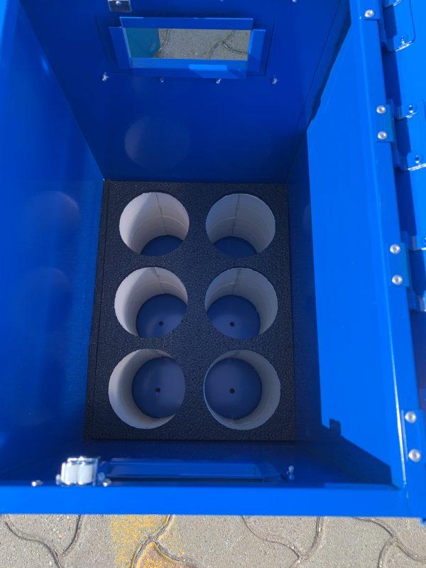 [:hu]Gázpalack szállító és tároló láda nyitott fedéllel, belső habbetét 6-os kivitel[:en]Gas cylinder storage and transport box inner XPS foam with protective cover[:]